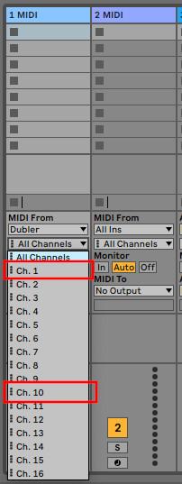 MIDI-channels-selection